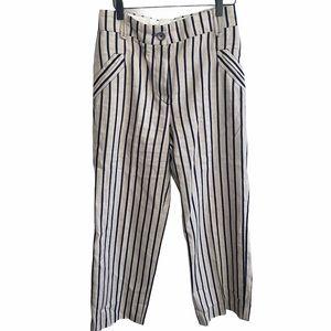 INCOTEX Stripped Linen High Rise Trouser Pants